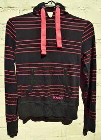 """Soul Cal 12 Ladies or Men's Black Surfing Hoodie with Pink Stripes C37"""""""
