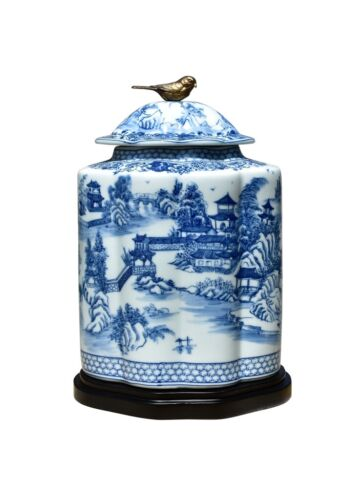 """Blue and White Blue Willow Porcelain Scalloped Tea Caddy Jar 15"""""""