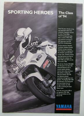 YAMAHA FZR/YZR RANGE Motorcycle Sales Brochure 1994 UK Market #MC400