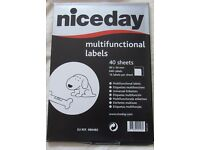 1 Pack Niceday Blank White Sticky Address Labels 14 labels per sheet 40 sheets per pack inkjet/laser
