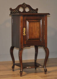Attractive Antique Victorian Carved Mahogany Bedside Side Cabinet Pot Cupboard