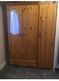 Solid Wooden Double Wardrobe + Single shelf unit
