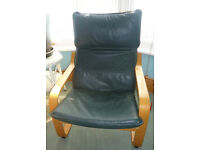 IKEA Poang Chair with (rare) Dark Green leather seat cushion.