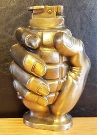 Vintage Hand Grenade Metal Cigar/ Cigarette Lighter