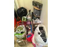 Carboot Joblot - Clothes, Books, Bric a brac, a suitcase, a drum, lamp shade, plates plus more