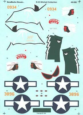 1:48 B-25 Bomber Mitchell Collection AeroMaster Model Decals Sheet NEW 48-088