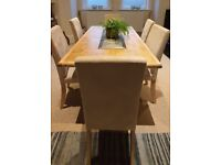 Beautiful Vintage Oak Parquet Top Refectory Style Dining Kitchen Table & 6 Chairs