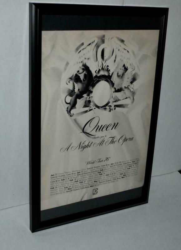 QUEEN 1976 A NIGHT AT THE OPERA WORLD TOUR 76 PROMO FRAMED CONCERTS POSTER / AD