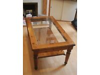 Beautiful, Sturdy Pine Coffee Table with Glass Top