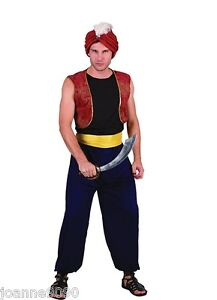 MENS ARABIAN NIGHTS BANDIT GENIE ALADDIN PANTO FANCY DRESS COSTUME & TURBAN HAT