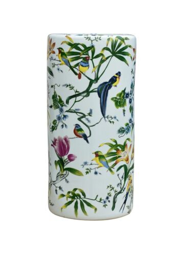 """Chinese Chinoiserie Spring Bird Motif Porcelain Umbrella Stand 18"""""""