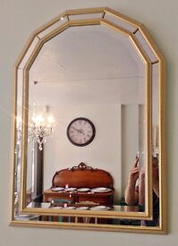 Large Art Deco style gold framed arched mirror very unusual