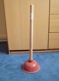 Large Rubber Plunger Wood Handle UDL 48L 15D cm NEW