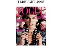 Vogue Magazine February 2005, pre loved condition is good Priced low ,Big collection available