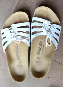 BIRKENSTOCK LEATHER SANDALS 38 WOMENS 9 MENS 7 WHITE EXCELLENT SHAPE