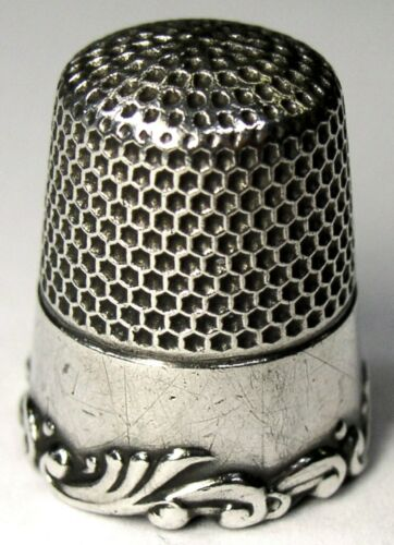 Antique Ketcham & McDougall Sterling Silver Thimble  Louis XV Scroll Rim  C1890s