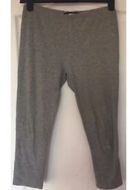WOMEN'S GYM FITNESS GREY CROPPED LEGGINGS RUNNING SPORTS YOGA WORKOUT WEAR, M