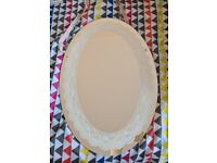 Oval lace print mirror