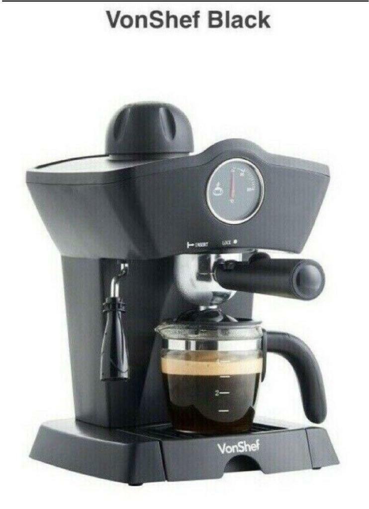 Expresso Coffee Maker By Vonshef 4 Bar Model 13190 Black In Southside Glasgow Gumtree