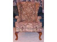 Vintage Parker Knoll queen Anne style wing back arm chair