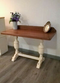 Solid mahogany and oak hall console table