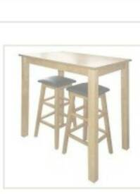 Brand new in box space saver breakfast table and pair of stools