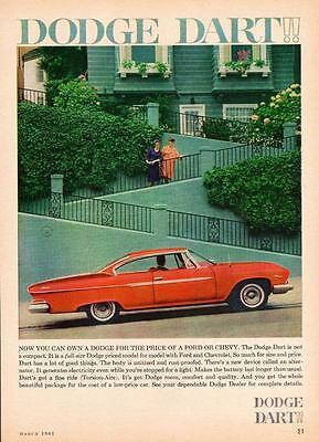 Print. Red 1961 Dodge Dart 2-Door Hardtop Auto Ad
