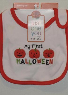 New Carter's Baby's MY FIRST HALLOWEEN Embroidered Pumpkin Bib