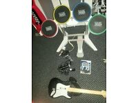 nintendo wii rockband game drum set,guitar and wii sing microphone bundle