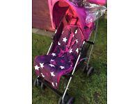 ::::::: MAMAS & PAPAS Pink Swirl Pushchair with Rain cover :::::::