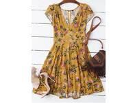 Mustard open back dress