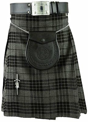 Grey Scottish Mens Kilt Tartan Kilts Traditional Highland dress