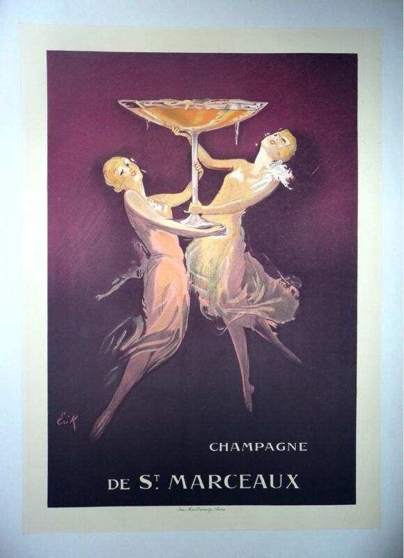 Original Vintage  French  Deco Champagne Poster
