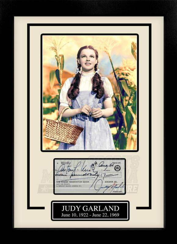 Judy Garland Wizard of Oz Facsimile Signed Autographed Check Framed 8x10