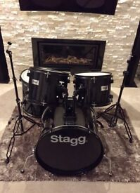 Stagg Drum Kit BLACK (Excellent Cond.) Cymbals/Hardware/Stool & New Evans Heads