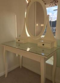 Ikea Hermes dressing table, mirror and glass top