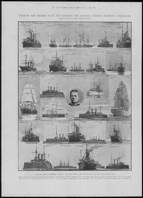1904 Antique Print - BRITISH ROYAL NAVY Admiral Fisher Reformer  (320)
