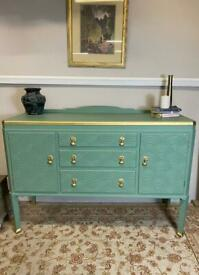 Shirley. Stunning sage green sideboard with patterned textured detail. Free local delivery.