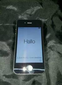 IPhone 4 on 3 with Charger Plug and Cable, leather case and Sim Card with £10 Credit