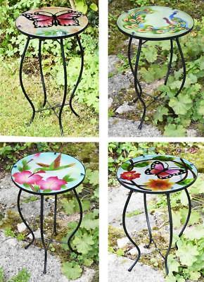 Eisen-glas Beistelltisch (Eisen/Glas Rund Mosaik Beistelltisch Garten Außen Terrasse Blumen Pflanze)