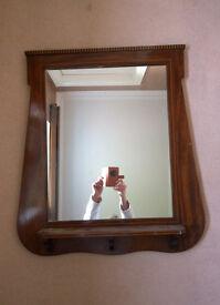 Vintage dark and inlaid wood mirror