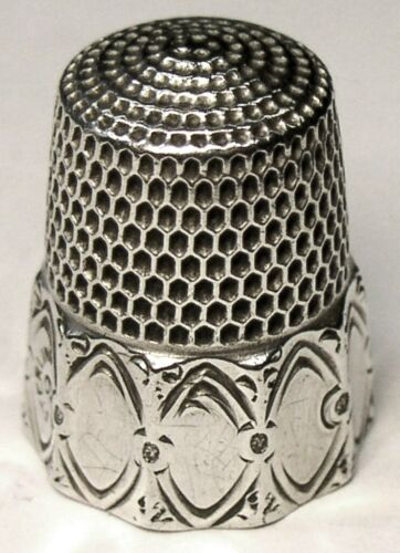 "Antique Simons Bros. Sterling Silver Thimble  ""Octagon Oval Panel""  C1890s"