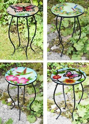 Eisen-glas Beistelltisch (Eisen/Glas Rund Mosaik Design Beistelltisch Garten Terrasse Blumen Pflanze)