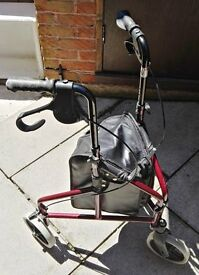 RED 3 WHEELED MOBILITY WALKING AID WITH BRAKES