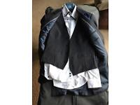 Moss Brothers Dark Navey/White suit (S)
