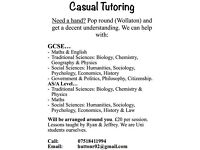 Casual GCSE & A Level tutoring in Wollaton, Nottingham. Friendly, cheap and professional.