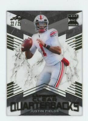 2021 Leaf Ultimate Clear Quarterbacks Gold Justin Fields 22/25 RC Rookie