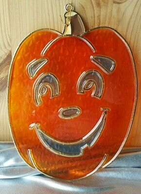 HALLOWEEN JACK O'LANTERN STAINED GLASS STYLE HANGING DECORATION.  NEW DESIGN INC - Halloween Chalk Designs