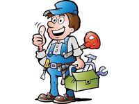 Building maintenance, carpenter, construction, handyman, paving, plastering, decorating work