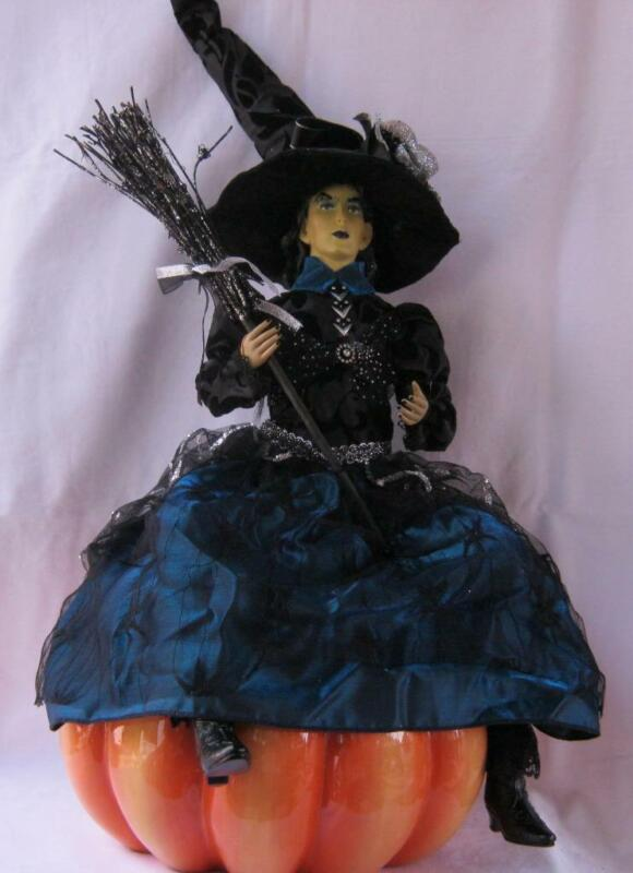 Large Halloween Witch Doll with Broom and Hat blue black and silver color